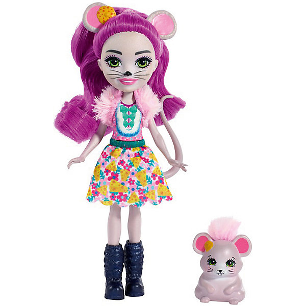 Купить Кукла с любимой зверюшкой Enchantimals, Майла Маус и Фондю, Mattel, Индонезия, Женский
