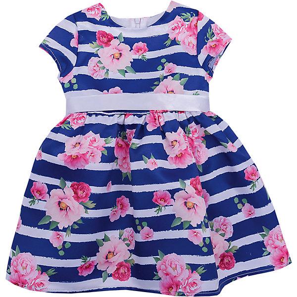 Платье Birba для девочкиПлатья<br>Характеристики товара:<br><br>• состав ткани: 100% полиэстер/100% хлопок<br>• сезон: круглый год<br>• застёжка: молния на спинке<br>• страна бренда: Италия<br><br>Повседневное платье подходит также и для торжественного случая. Рукава короткие, юбка в небольшую складку. На талии дополнено поясом контрастного цвета. Украшено цветочным рисунком и узором в полоску.
