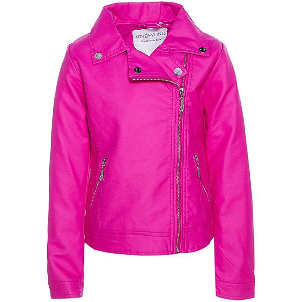 Куртка Trybeyond для девочкиВерхняя одежда<br>Характеристики товара:<br><br>• состав ткани: 100% вискоза + полиуретан<br>• сезон: демисезон<br>• застёжка: косая молния<br>• страна бренда: Италия<br><br>Куртка защищает от ветра в прохладную погоду. Легко надевается и обеспечивает свободу движений. Отложной воротник с лацканами. Внутри есть петелька для подвешивания.
