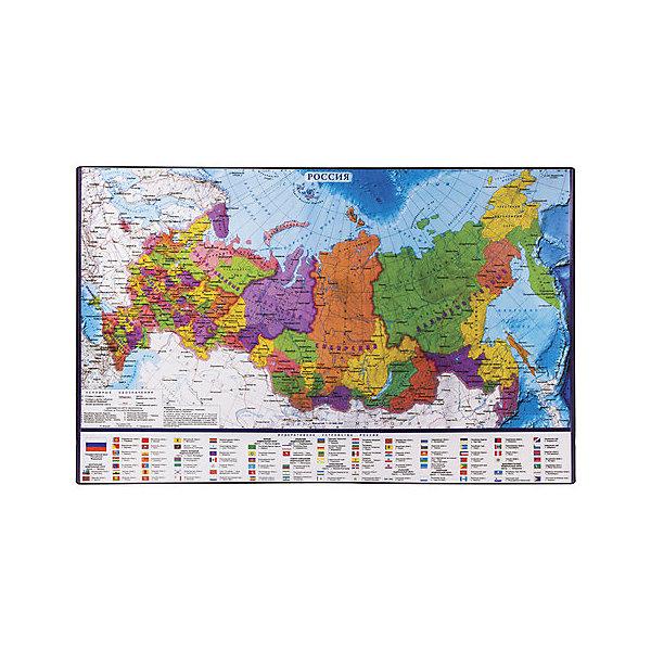 Купить Настольный коврик-подкладка Brauberg для письма, с картой России, Россия, разноцветный, Унисекс