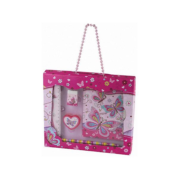 Блокнот Brauberg Бабочка А6, 56 листов, с аксессуарамиКанцелярские наборы<br>Характеристики товара:<br><br>• в комплекте: блокнот, точилка, ластик, карандаш, подарочная коробка<br>• количество листов: 56<br>• формат: А6+<br>• тип обложки: жёсткий картон<br>• крепление блока: книжное<br>• расположение переплёта: боковое<br>• внутренний блок: цветной офсет<br>• плотность внутреннего блока: 70 г/м2<br>• размер блокнота: 15х11 см<br>• длина линейки: 15 см<br>• упаковка: прозрачный пакет<br><br>Все элементы набора украшены яркими рисунками. Блокнот с белыми листами в линейку закрывается на металлический замок с ключиком. Точилка сделана в форме сердца. Упаковка в виде коробки с прозрачным окошком, где удобно помещаются все предметы. Можно носить как сумочку.