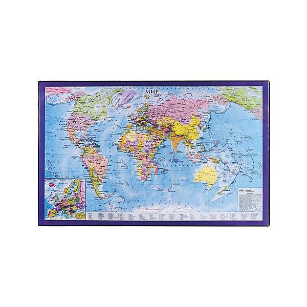 Купить Настольный коврик-подкладка Brauberg для письма, с картой мира, Россия, разноцветный, Унисекс