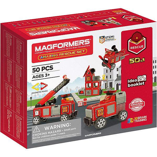 Магнитный конструктор Magformers Amazing Rescue SetМагнитные конструкторы<br>Характеристики:<br><br>• материал: пластик, магнит<br>• в наборе: 50 элементов, включая фигурки пожарного и потерпевшей, книга идей<br>• страна бренда: Корея<br><br>Помимо стандартных деталей квадратной и треугольной формы в набор включены элементы для строительства зданий, машин и другого транспорта пожарной службы – всего 20 моделей. Конструктор выполнен в едином стиле и одной цветовой гамме. У построек есть подвижные части, в автомобили и дома можно помещать фигурки человечков. Элементы надежно крепятся между собой, но при этом без усилий отсоединяются. Неодимовые магниты являются самыми сильными из всех, а внутри деталей расположены так, что легко поворачиваются нужной стороной друг к другу. Играя с конструктором, ребенок развивает пространственное мышление, воображение, ловкость рук и логику. Сделано из качественных материалов.