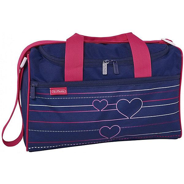 Спортивная сумка Herlitz XL, HeartbeatСпортивные сумки<br>Характеристики:<br><br>? материал: полиэстер <br>? размер ранца: 25*35,5*13,5 см<br>? страна бренда: Германия<br><br>Спортивная сумка имеет регулируемый плечевой ремень и 2 ручки для переноски в руке. Сбоку расположен большой карман на молнии.