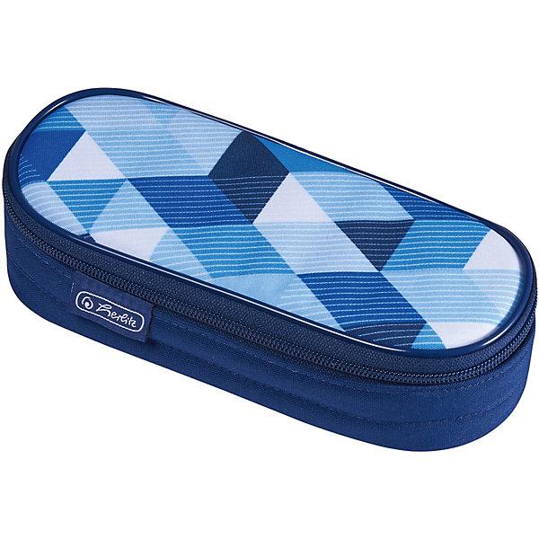 herlitz Пенал-косметичка Polina Case Blue Cubes herlitz пенал косметичка polina case pink cubes