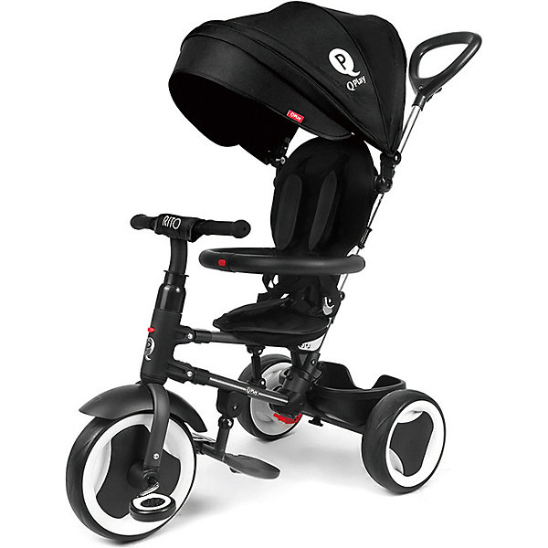 Трехколесный велосипед Qplay, черныйВелосипеды<br>Характеристики:<br><br>• материал колес: EVA<br>• складной: да<br>• регулировка положения спинки: да<br>• особенности: блокировка задних колес, свободный ход переднего колеса<br>• размер в сложенном виде: 105х49х100 см<br>• размер в собранном виде: 95х49х42 см<br>• вес велосипеда: 8,56 кг<br><br>Велосипед подходит для городских прогулок, в сложенном виде его удобно брать в поездки. Предусмотрена выдвижная родительская ручка с возможностью регулирования направления движения. Для безопасности ребенка есть пятиточечный ремень, бампер и козырек от солнца и осадков. Велосипед оснащен корзинкой для вещей. Складная подставка для ножек пригодится совсем маленькому ребенку. Крыло на переднем колесе убережет от грязных брызг. Сделано из качественных материалов.