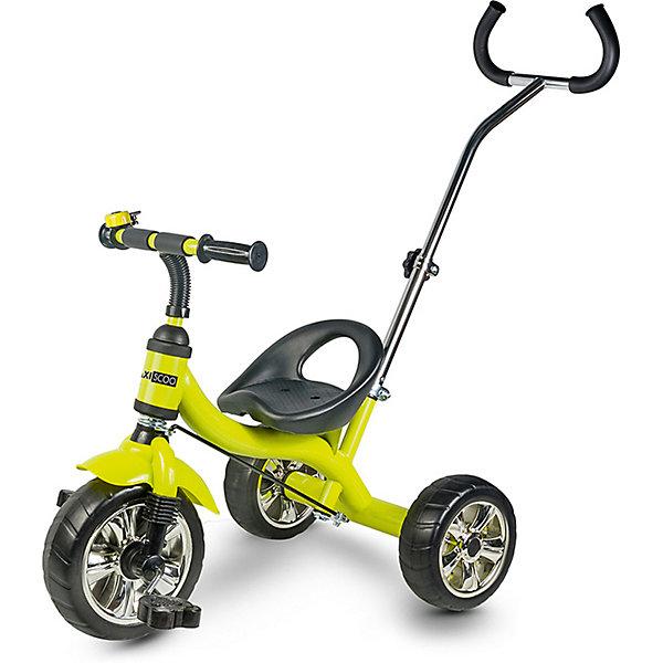 Трехколесный велосипед Maxiscoo с ручкой управления, светло-зеленыйВелосипеды<br>Характеристики:<br><br>• особенности: родительская ручка управления, звонок<br>• размер в собранном виде: 72х47х100 см<br>• вес велосипеда: 4,8 кг<br><br>Трехколесный велосипед имеет яркий дизайн, подходит для городских прогулок. Крупные колеса обеспечивают уверенный ход, ноги не скользят на педалях. Для удобства ребенка предусмотрено широкое сиденье с поддерживающей спинкой. На ручках руля есть противоударные ограничители. Переднее колесо дополнено крылом против брызг. Сделано из качественных материалов.