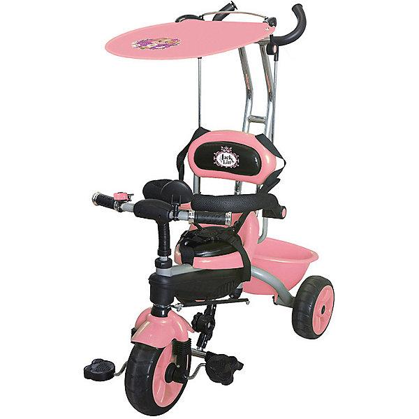 Трехколесный велосипед Jack&Lin, розовыйВелосипеды<br>Характеристики:<br><br>• особенности: зеркало заднего вида, корзина для вещей<br>• размер в собранном виде: 80х49х101 см<br>• вес велосипеда: 8,8 кг<br><br>Трехколесный велосипед оснащен мягким удобным сиденьем с ремнем безопасности и ограничивающим бампером. Предусмотрена складная подставка для ножек. У педалей нескользящее покрытие. Родительской ручкой можно регулировать направление движения. Козырек-тент с принтом зайки защищает ребенка от дождя и солнца, а крыло на переднем колесе уберегает малыша от грязных брызг. Сделано из качественных материалов.