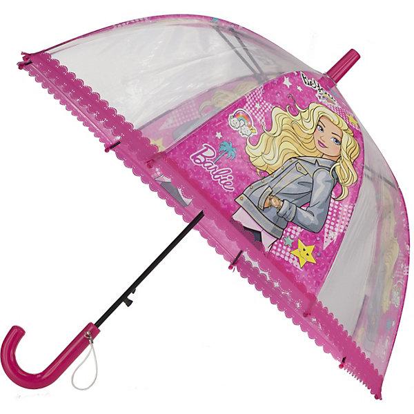 Детский зонт-трость Академия Групп BarbieДетские зонты<br>Характеристики:<br><br>• материал: пластик, полиэстер, металл<br>• диаметр купола: 69 см<br>• страна бренда: Россия<br><br>Зонт с глубоким куполом защитит ребенка от дождя и ветра. Аксессуар складывается в трость, фиксируется в сложенном состоянии застежкой. Загнутую пластиковую ручку удобно держать, есть дополнительная петелька на руку. Концы спиц закрыты круглыми наконечниками. Зонт украшен ярким изображением.