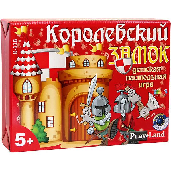 Настольная игра Play Land Королевский замокДля всей семьи<br>Характеристики:<br><br>• в комплекте: игровое поле, 18 жетонов, 4 игровые фигуры, один кубик, правила игры<br>• материал: картон, пластик<br>• количество игроков: 2-4<br><br>Веселая игра на смекалку и интуицию. Необходимо как можно быстрее собрать в своем замке всех членов свиты, преодолевая препятствия и собирая жетоны.