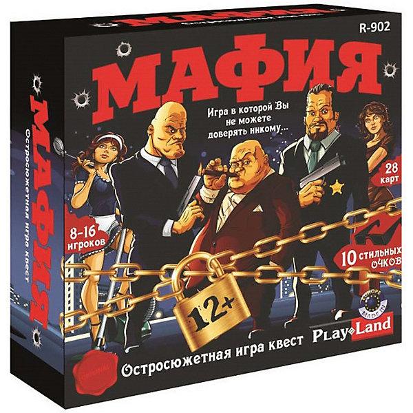 Настольная игра Play Land МафияДля всей семьи<br>Характеристики:<br><br>• в комплекте: 29 карт, 10 очков, правила игры<br>• количество игроков: 8-16<br>• материал: картон, пластик<br><br>Популярная психологическая игра на развитие интуиции и логики. Необходимо вычислить кто из игроков злодей, а кто мирный житель за короткое время и убедить в этом своих союзников.