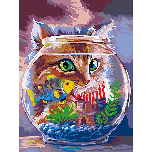 Купить Картина по номерам Фрея Котенок и рыбка , 30 х 40 см, Россия, разноцветный, Унисекс