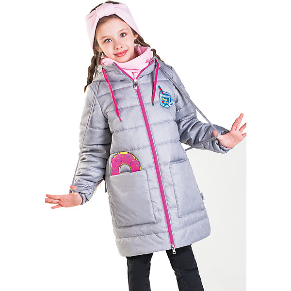 Пальто  BOOM by Orby для девочкиВерхняя одежда<br>Характеристики товара:<br><br>• ткань: полиэстер (таффета)<br>• подкладка: полиэстер, поликоттон<br>• утеплитель: Flexy Fiber 150 г/м2<br>• сезон: демисезон<br>• температурный режим: от -5 до +10°С<br>• с капюшоном<br>• на молнии<br>• накладные карманы<br>• страна бренда: Россия<br><br>Демисезонное стеганое пальто с высоким горлом на молнии. Модель рассчитана на прохладную погоду весной или осенью. Капюшон защитит от ветра и осадков.