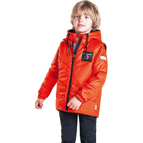 Куртка  BOOM by Orby для мальчикаВерхняя одежда<br>Характеристики товара:<br><br>• ткань верха (жилет): полиэстер (болонь)<br>• ткань верха (толстовка): полиэстер (болонь), футер с начесом<br>• подкладка: полиэстер пухосодержащий<br>• утеплитель: Flexy Fiber 150 г/м2<br>• сезон: демисезон<br>• температурный режим: от -5 до +10°С<br>• с капюшоном<br>• рукава на молнии<br>• утяжки на капюшоне<br>• страна бренда: Россия<br><br>Куртка-трансформер станет любимой одеждой в демисезон. Ее легко превратить в жилет или обычную утепленную толстовку.