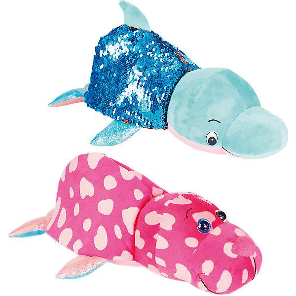 """Мягкая игрушка-вывернушка 1Toy """"Блеск с пайетками"""", Дельфин-Морж, Разноцветный"""