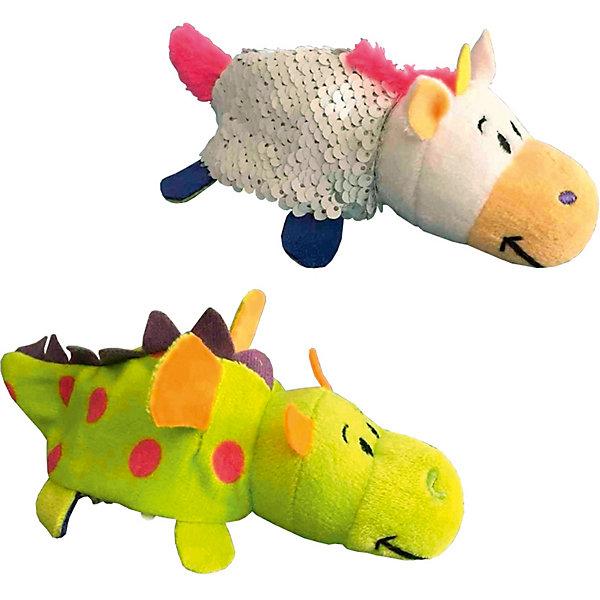 """Мягкая игрушка-вывернушка 1Toy """"Блеск с пайетками"""", Единорог-Дракон, Разноцветный"""