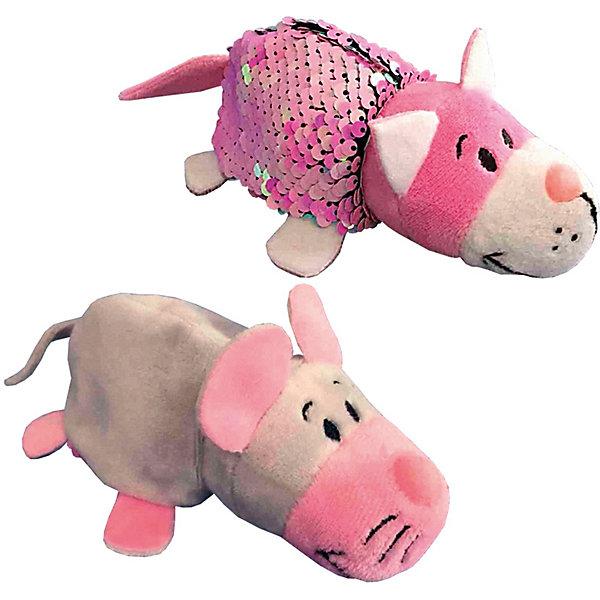 """Мягкая игрушка-вывернушка 1Toy """"Блеск с пайетками"""", Кот-Мышка, Разноцветный"""
