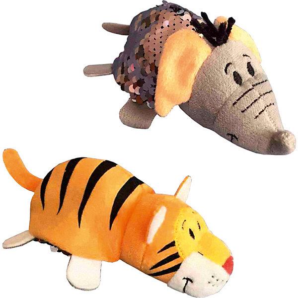 Мягкая игрушка-вывернушка 1Toy Блеск с пайетками, Слон-ТигрВывернушки<br>Характеристики:<br><br>? материал: искусственный плюш, пластик (пайетки)<br>? размер игрушки: 12 см<br>? страна бренда: Россия<br><br>Мягкая игрушка легким движением превращается из одного персонажа в другого. Одна половина украшена двусторонними пайетками, пришитыми особым образом. Проведя по ним пальчиком или ладошкой и перевернув сторону блёстки, можно изменить цвет вывернушки, что-нибудь нарисовать или даже написать на ней.