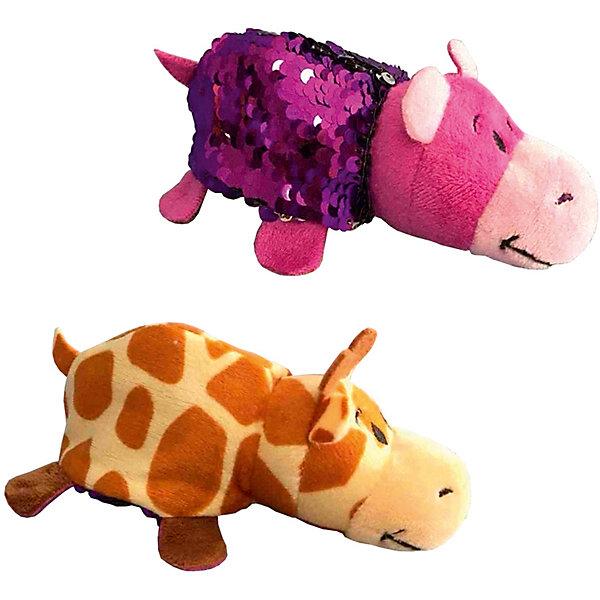 """Мягкая игрушка-вывернушка 1Toy """"Блеск с пайетками"""", Жираф-Бегемот, Разноцветный"""