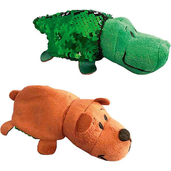 """Мягкая игрушка-вывернушка 1Toy """"Блеск с пайетками"""", Крокодил-Медведь, Разноцветный"""
