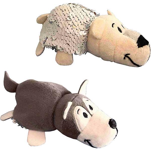 """Мягкая игрушка-вывернушка 1Toy """"Блеск с пайетками"""", Хаски-Полярный медведь, Разноцветный"""