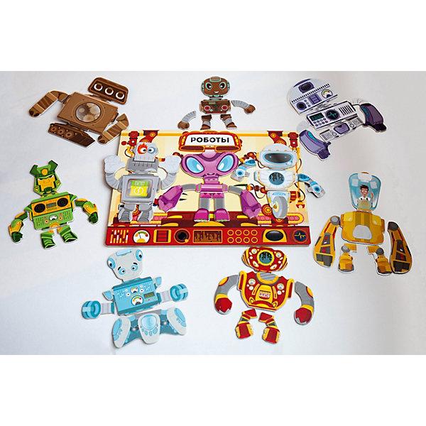 Магнитная игра Mr. Bigzy РоботыОбучающие игры для дошкольников<br>Характеристики:<br><br>• материал: пластик, металл, дерево<br>• комплектация: 65 магнитных элементов, магнитный планшет<br>• 10 видов роботов<br>• экологически безопасные материалы<br>• способствует развитию тактильных ощущений<br>• страна бренда: Россия<br><br>Магнитная игра - это деревянный пазл на магнитах. Каждая фигура пазла состоит из частей. Собирать их можно в любой последовательности. Сидя за этим занятием, ребенок проводит время с пользой, развивая моторику и пространственное мышление.