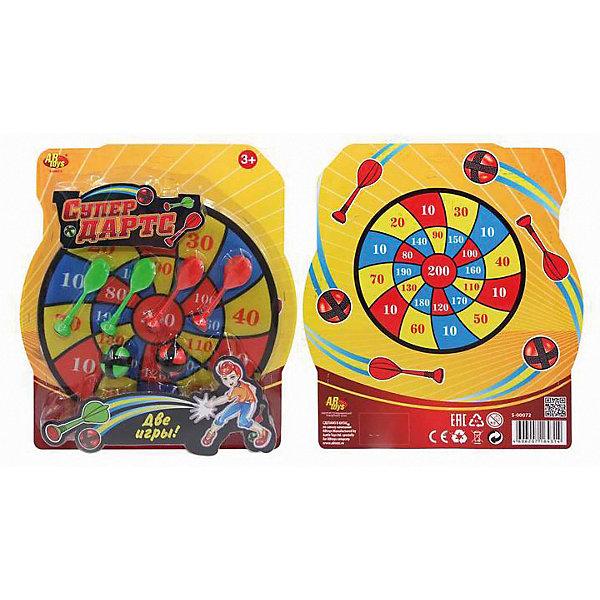 Игровой набор ABtoys СупердартсСпортивные игры<br>Характеристики:<br><br>• в наборе: цель, дротики, шарики<br><br>Детям предстоит попасть по мишени, используя для броска стрелы или шарики с липучками разных цветов. Секция, к которой прикрепится снаряд, укажет количество заработанных очков. Игра развивает координацию движений, меткость и внимательность.