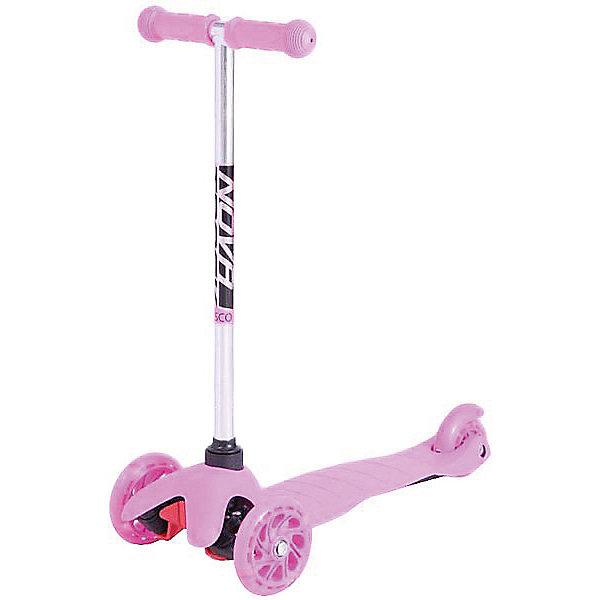 Трехколесный самокат Novatrack Disco-kids со светящимися колесами, нежно-розовыйСамокаты<br>Характеристики товара:<br><br>• материал: алюминий, пластик<br>• материал колёс: полиуретан<br>• размер передних колёс: 120х30 мм<br>• размер заднего колеса: 80х25 мм<br>• максимальная нагрузка: 25 кг<br>• регулируемая по высоте ручка: 57-69 см<br>• антискользящие резиновые рукоятки на руле<br>• ширина руля: 26-28 см<br>• мигающие колёса<br>• жёсткость колёс: 82А<br>• подшипники: Abec 5<br>• размер деки: длина 32 см, ширина 11 см<br>• тормоз: задний ножной<br>• противоскользящее покрытие<br>• страна бренда: Россия<br><br>Самокат для детей изготовлен из лёгкого и ударопрочного материала. Колёса обеспечивают устойчивость и бесшумное плавное катание. Повороты осуществляются наклонами руля в разные стороны, исключая опасные манёвры. Ручка не регулируется.