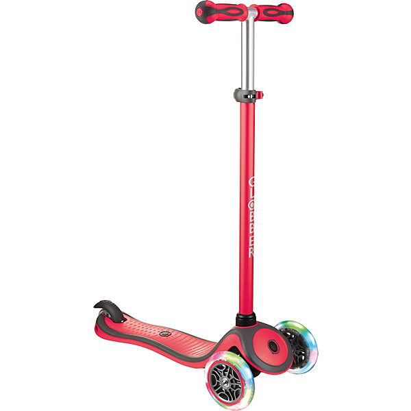 Купить Трехколесный самокат Globber Primo Plus Lights Color, светящиеся колеса, Китай, красный, Унисекс