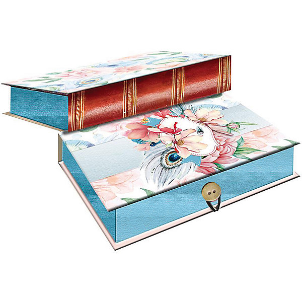 Купить Коробка подарочная Феникс-презент Цветы и павлиньи перья, размер M, Феникс-Презент, Китай, Унисекс