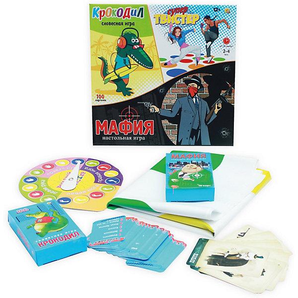 Комплект настольных игр Рыжий кот Супер-твист, крокодил, мафия