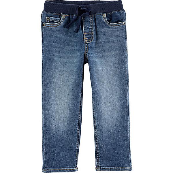 Джинсы Carter'sДжинсы и брючки<br>Характеристики товара:<br> <br>• состав ткани: 88% хлопок, 10% полиэстер, 2% эластан<br>• сезон: демисезон<br>• застёжка: завязки<br>• страна бренда: США<br> <br>Джинсы на резинке комфортно облегают в талии. Завязки подгонят и отрегулируют обхват. Классическая модель с пятью карманами, спереди украшены клёпками. Материал дышащий.