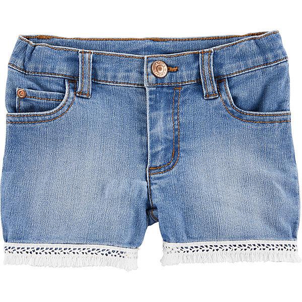 Шорты CartersШорты и бриджи<br>Характеристики товара:<br> <br>• состав ткани: 76% хлопок, 23% полиэстер, 1% эластан<br>• сезон: лето<br>• застёжка: пуговица<br>• страна бренда: США<br> <br>Джинсовые шорты прямого кроя. Изделие дополнено шлёвками для ремня. Комфортно облегают в талии. Есть карманы спереди и сзади. Низ штанин украшен бахромой контрастного цвета. Материал позволяет телу дышать.