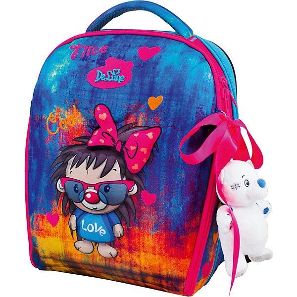 Купить Ранец DeLune 7mini, мешок, жесткий пенал, мишка, ленточка, Китай, разноцветный, Женский