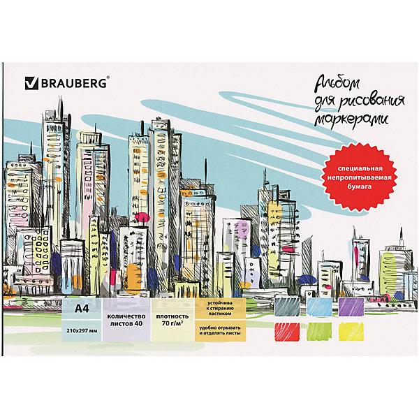 Brauberg Альбом Brauberg для маркеров и фломастеров, непропитываемая бумага, А4 альбом для маркеров и фломастеров brauberg 30 42 см 40 листов