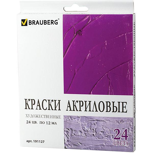 Brauberg Акриловые краски в тубах, 24 цветов