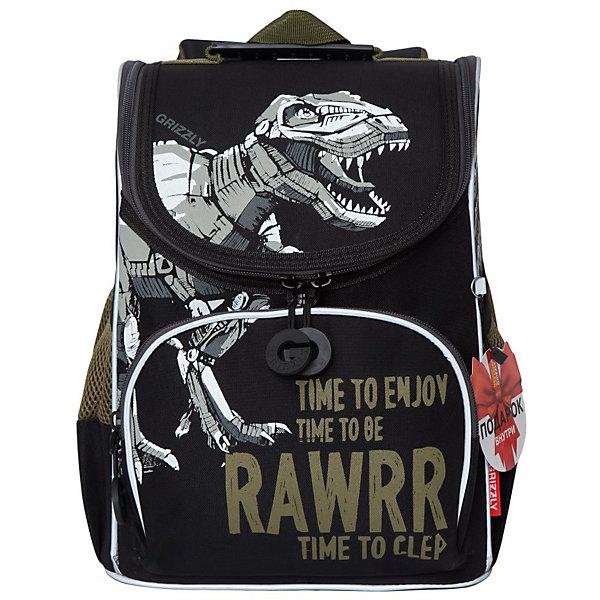 Купить Рюкзак школьный с мешком Grizzly, черный, Россия, Мужской