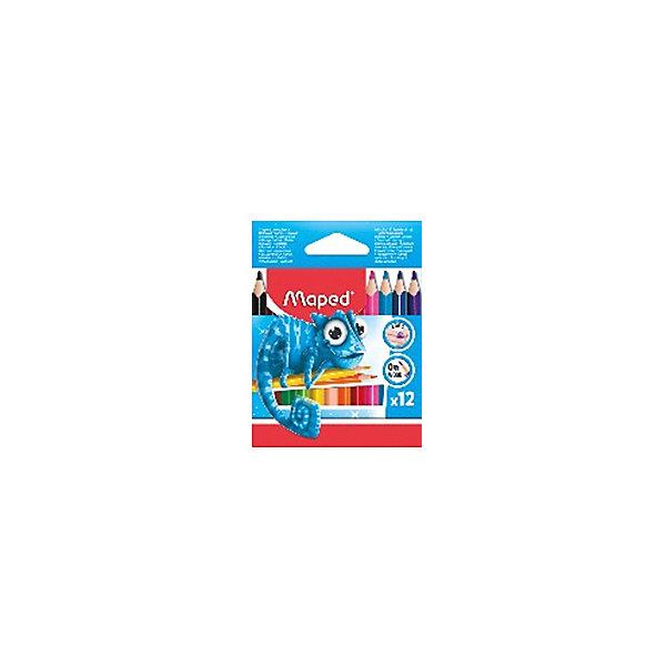 Maped Набор пластиковых цветных карандаей Maped Pulse Maxi трехгранные, 12 цветов