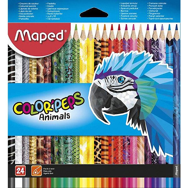 Купить Набор цветных карандаей Maped Color'peps Animals с декором, 24 цвета, Франция, разноцветный, Унисекс