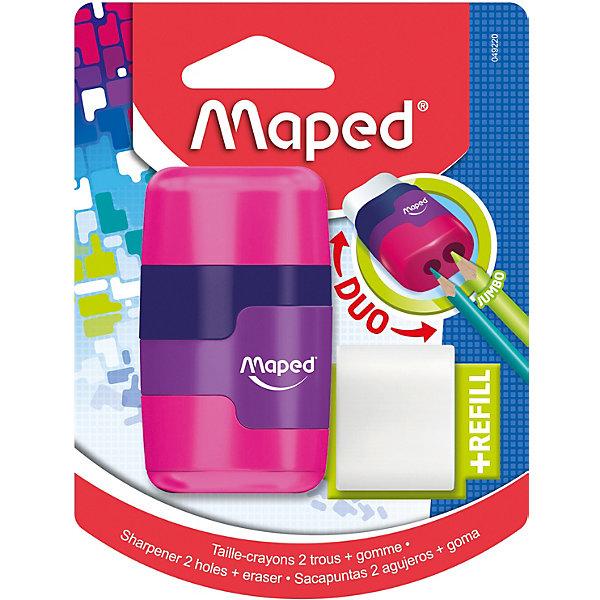 Купить Канцелярский набор 2в1 Maped Connect с точилкой и ластиком, Франция, разноцветный, Унисекс