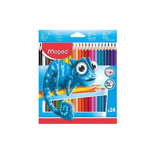 Набор пластиковых цветных карандаей Maped Pulse 24 цветаКарандаши<br>Характеристики:<br><br>• в комплекте: 24 штуки<br>• материал: пластик<br>• диаметр грифеля: 3 мм<br>• упаковка: картон<br>• страна бренда: Франция<br><br>Набор ярких карандашей отлично подходит для воплощения творческих идей. Мягкая древесина легко затачивается. Удобно лежат в руке благодаря эргономичной трехгранной форме. Прочный грифель не крошится при нажатии. Выполнены из качественных и безопасных материалов.