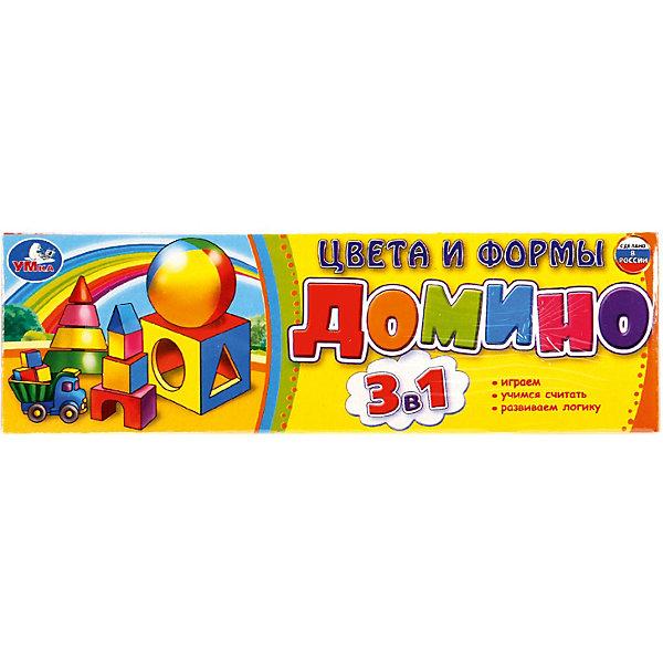 Умка Домино 3 в 1 Умка «Цвета и формы» настольная игра умка домино овощи и фрукты 3 в 1