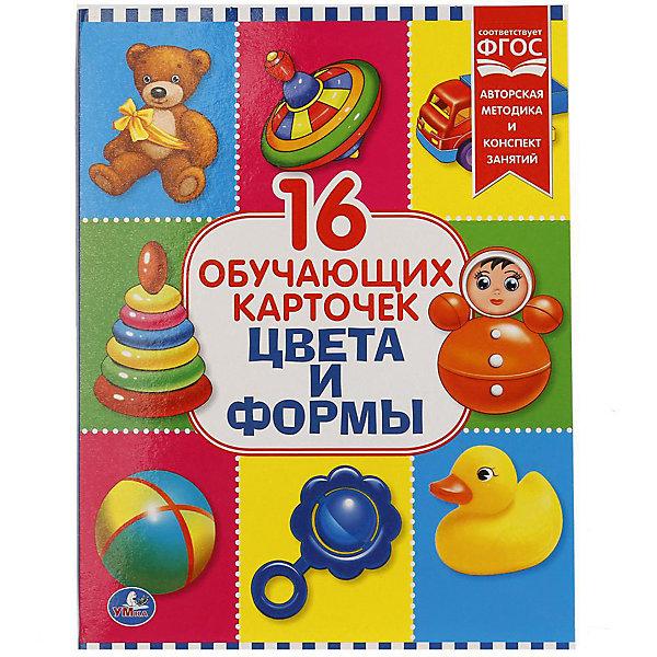 Обучающие карточки Умка «Цвета и формы»Обучающие карточки<br>Характеристики товара:<br><br>• материал: картон<br>• в комплекте: 16 карточек<br>• размер карточки: 22х17 см<br><br>Разноцветные развивающие карточки выступают в качестве наглядного пособия для обучения детей. Развивают память, внимание, логическое мышление, знакомят ребенка с окружающим миром.