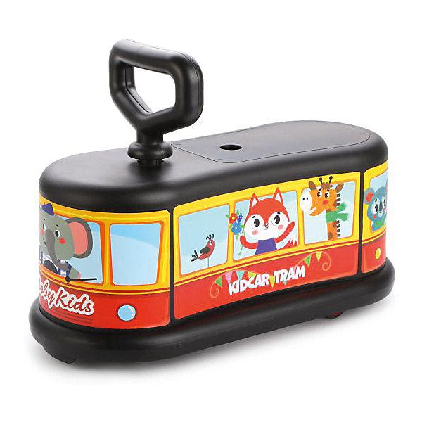 Каталка Moby Kids АвтобусКаталки<br>Характеристики товара:<br><br>• материал: пластик, металл<br>• максимальная нагрузка: 60 кг<br>• вес игрушки: 3 кг<br>• размер игрушки: 47х22х34 см<br>• упаковка: картонная коробка блистерного типа<br>• страна бренда: Россия<br><br>Изделие изготовлено из качественного и прочного материала, способно выдерживать большие нагрузки при эксплуатации. Колеса прорезинены для тихого и безопасного катания, передние - вращаются на 360 градусов, задние - стационарные. Каталка снабжена удобной ручкой, а также практичным  отсеком под сиденьем для хранения игрушек и других мелочей. Корпус модели украшен наклейками с забавными персонажами. Детская каталка-автобус сделает прогулку активной и веселой.