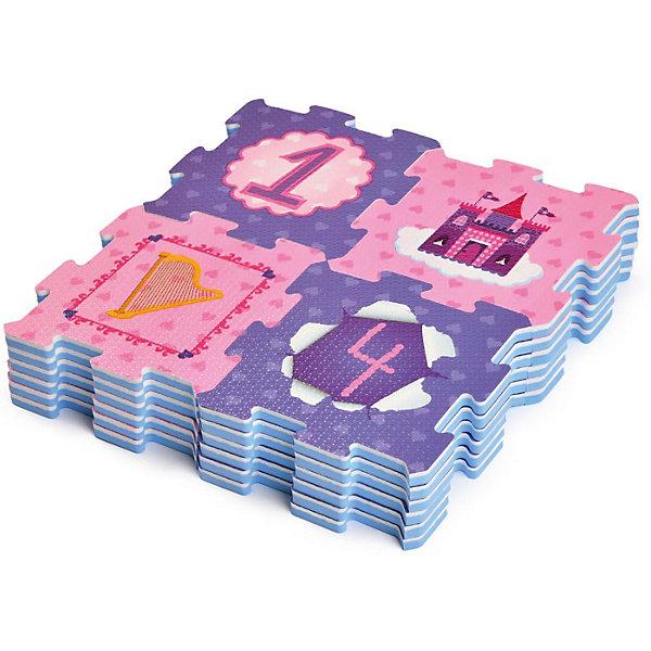 Коврик-пазл ЯиГрушка Сказочная принцессаРазвивающие коврики<br>Характеристики:<br><br>? материал: EVA foam (ЭВА-пена, этиленвинилацетат)<br>? количество деталей: 24 шт<br>? размер 1 детали: 16,7*16,7*1 см<br>? размер коврика в собранном виде: 62,3*92,7*1 см<br><br>Игрушка имеет несколько функций. Непосредственно сборка пазла тренирует мелкую моторику и логическое мышление. Коврик из текстурированных элементов приятен на ощупь и может служить фоном для разнообразных игр. ЭВА-пена хорошо амортизирует давление, гипоаллергенна, не электризуется, стойка к воздействию химических веществ и препятствует образованию и размножению грибка и бактерий. Рисунок с цифрами от 0 до 9, принцессами и королевскими атрибутами способствует развитию воображения, пространственного восприятия и помогает выучить счет.