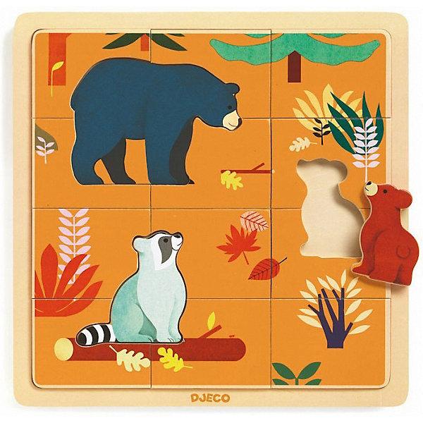 Деревянный пазл DJECO Осень в лесуПазлы для малышей<br>Характеристики:<br><br>• материал: дерево<br>• в наборе: основание, 12 деталей, 3 пазла с животными<br>• страна бренда: Франция<br><br>Красочный пазл собирается на специальной основе, чтобы все детали плотно прилегали друг к другу. Собирая картинку, малыш тренирует внимательность и память, развивает мелкую моторику и логику. Пазл сделан из экологичного материала, покрыт безопасными красителями.