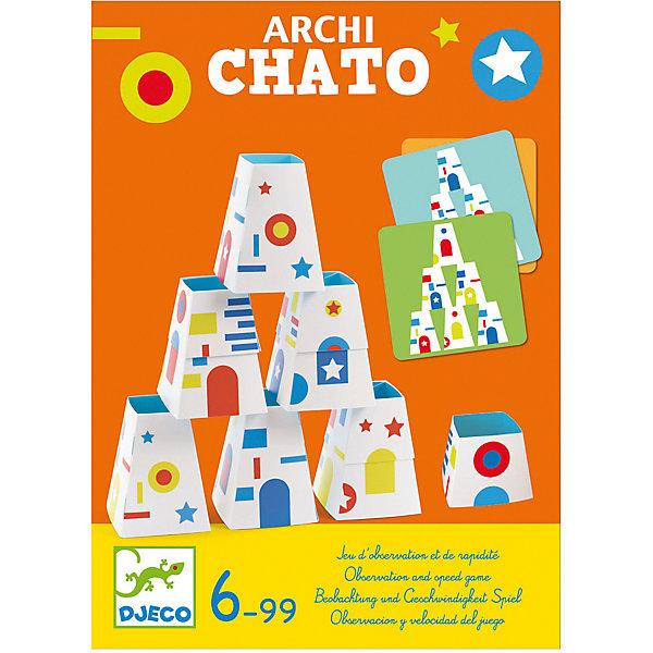 Настольная игра DJECO ПирамидкиДля дошкольников<br>Характеристики:<br><br>• количество игроков: 2<br>• в комплекте: 2 набора из 9 конусов, 30 карточек с заданиями, правила игры<br>• страна бренда: Франция<br><br>Веселая игра на скорость и внимательность. Для победы игроку нужно собрать 5 карточек за строительство пирамидок. На столе лежит колода с заданиями, а каждому участнику дается по 9 конусов. Игрок тянет карту, ее все видят. Теперь нужно быстро и правильно построить пирамиду, чтобы она точно повторяла ту, что в карточке. Кто сделает это первым, получает победное очко.