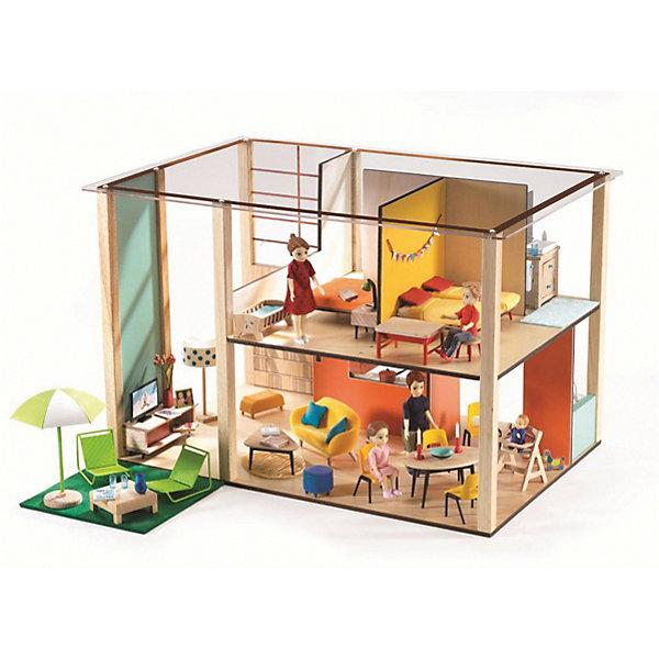 Дом-кубик для кукол DJECOДомики для кукол<br>Характеристики:<br><br>• в наборе: детали домика<br>• размер домика: 31х32,5х48,5 см<br>• страна бренда: Франция<br><br>Из деталей конструктора собирается двухэтажный домик для кукол (не входят в комплект). В постройке есть окна, прозрачная крыша, несколько комнат, разделенных перегородками. Обставить домик можно на свой вкус. Сделано из качественных материалов.