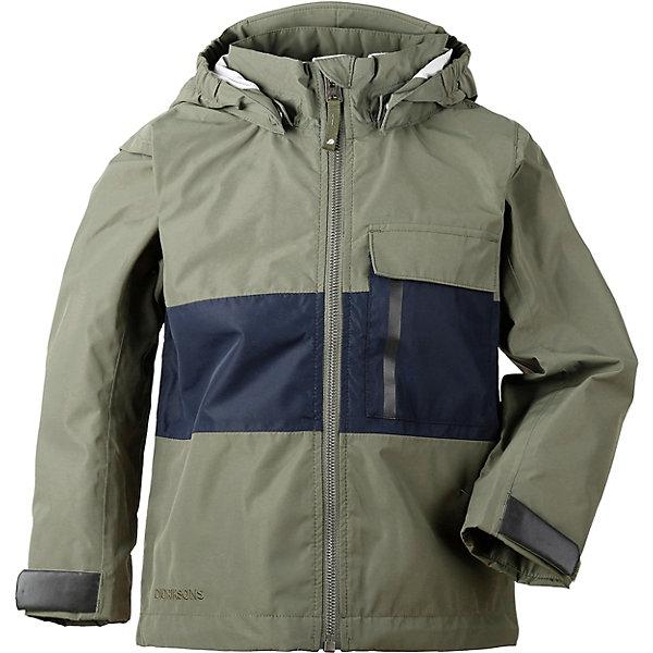 Демисезонная куртка Didriksons IgelkottenВерхняя одежда<br>Характеристики товара:<br><br>• состав ткани: 100% полиэстер, ламинация, пропитка без фторуглерода - DWR Finish<br>• подкладка: тафта<br>• утеплитель: без дополнительного утепления<br>• сезон: демисезон<br>• водонепроницаемость: 10000 мм<br>• воздухопроницаемость: 5000 г/м2/24ч<br>• застёжка: молния с защитой подбородка<br>• все швы проклеены<br>• съёмный капюшон<br>• регулируемые манжеты рукавов<br>• регулируемый подол<br>• увеличивающийся размер<br>• светоотражающие детали<br>• страна бренда: Швеция<br><br>Мембранная куртка защищает от влаги и ветра в непогоду. Регулируемые детали позволят подогнать изделие для более комфортной посадки. Совершенно не сковывает движений при носке. Длина рукавов может быть увеличена на один размер, для этого достаточно распустить специальный внутренний шов. Производитель рекомендует использовать термобелье и флисовую поддеву для сильных морозов.