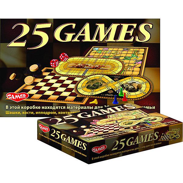 Настольная игра Dream Makers «25 игр для всей семьи»Для всей семьи<br>Характеристики:<br><br>• тип товара: настольная игра<br>• комплектация: игровые поля (4 шт), шашки (24 шт), фишки игральные (4 шт), кубик игральный (5 шт), инструкция<br>• страна бренда: Россия<br><br> <br>Настольная игра включает в себя все необходимые элементы для 25 игр. Среди них: шашки, волки и овцы, шашки по-польски, поддавки, крепость, лиса и ворона, ипподром, жокей, тотализатор, охотник, парковка и некоторые другие.